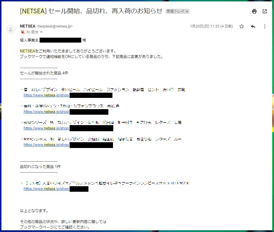 NETSEA(ネッシー)セール情報2